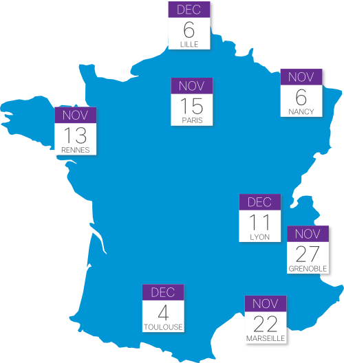 France map - dates of venues