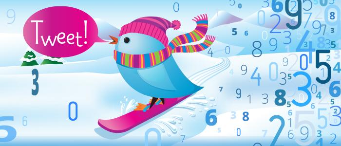 Tweet bird on the snowboard