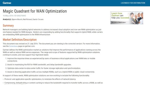Gartner Magic Quadrant for WAN Optimization