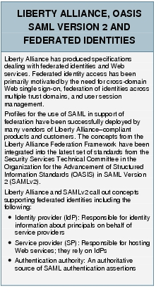 Text Box: LIBERTY ALLIANCE, OASIS SAML VERSION 2 AND FEDERATED IDENTITIESLiberty Alliance has produced specifications dealing with federated identities and Web services. Federated identity access has been primarily motivated by the need for cross-domain Web single sign-on, federation of identities across multiple trust domains, and user session management. Profiles for the use of SAML in support of federation have been successfully deployed by many vendors of Liberty Alliance-compliant products and customers. The concepts from the Liberty Alliance Federation Framework have been integrated into the latest set of standards from the Security Services Technical Committee in the Organization for the Advancement of Structured Information Standards (OASIS) in SAML Version 2 (SAMLv2).Liberty Alliance and SAMLv2 call out concepts supporting federated identities including the following:●	Identity provider (IdP): Responsible for identity information about principals on behalf of service providers●	Service provider (SP): Responsible for hosting Web services; they rely on IdPs●	Authentication authority: An authoritative source of SAML authentication assertions