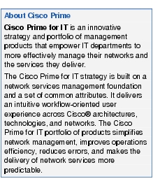 Text Box: About Cisco PrimeCisco Prime for IT is an innovative strategy and portfolio of management products that empower IT departments to more effectively manage their networks and the services they deliver.The Cisco Prime for IT strategy is built on a network services management foundation and a set of common attributes. It delivers an intuitive workflow-oriented user experience across Cisco® architectures, technologies, and networks. The Cisco Prime for IT portfolio of products simplifies network management, improves operations efficiency, reduces errors, and makes the delivery of network services more predictable.