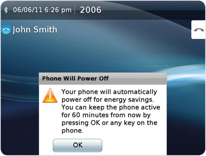 Power Save Plus alert displayed on the phone