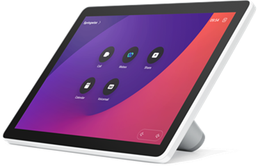 The user interface can be configured by administrators to easily control other room peripherals such as lighting, room dividers, and curtains. Cisco Webex Room Navigator unit
