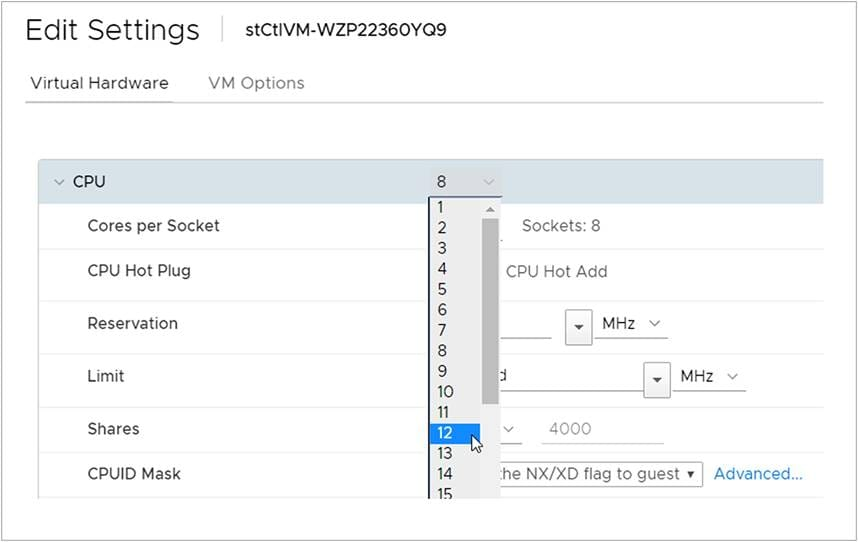 Changing the number of CPUs on the HyperFlex Controller VM