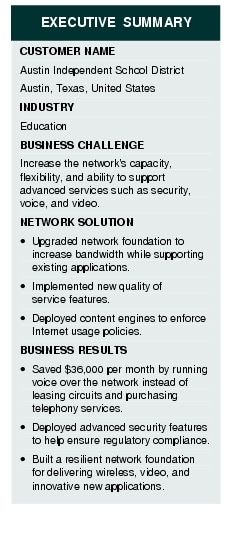 Text Box: EXECUTIVE SUMMARYCUSTOMER NAMEAustin Independent School DistrictAustin, Texas, United StatesINDUSTRYEducationBUSINESS CHALLENGE Increase the network's capacity, flexibility, and ability to support advanced services such as security, voice, and video.NETWORK SOLUTION·	Upgraded network foundation to increase bandwidth while supporting existing applications. ·	Implemented new quality of service features.·	Deployed content engines to enforce Internet usage policies.BUSINESS RESULTS ·	Saved $36,000 per month by running voice over the network instead of leasing circuits and purchasing telephony services.·	Deployed advanced security features to help ensure regulatory compliance.·	Built a resilient network foundation for delivering wireless, video, and innovative new applications.