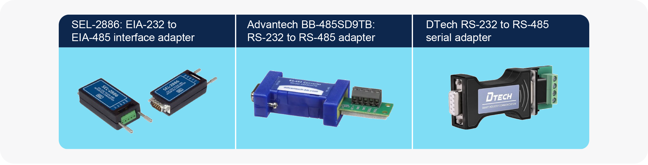 RS-232 to RS-485 adapters