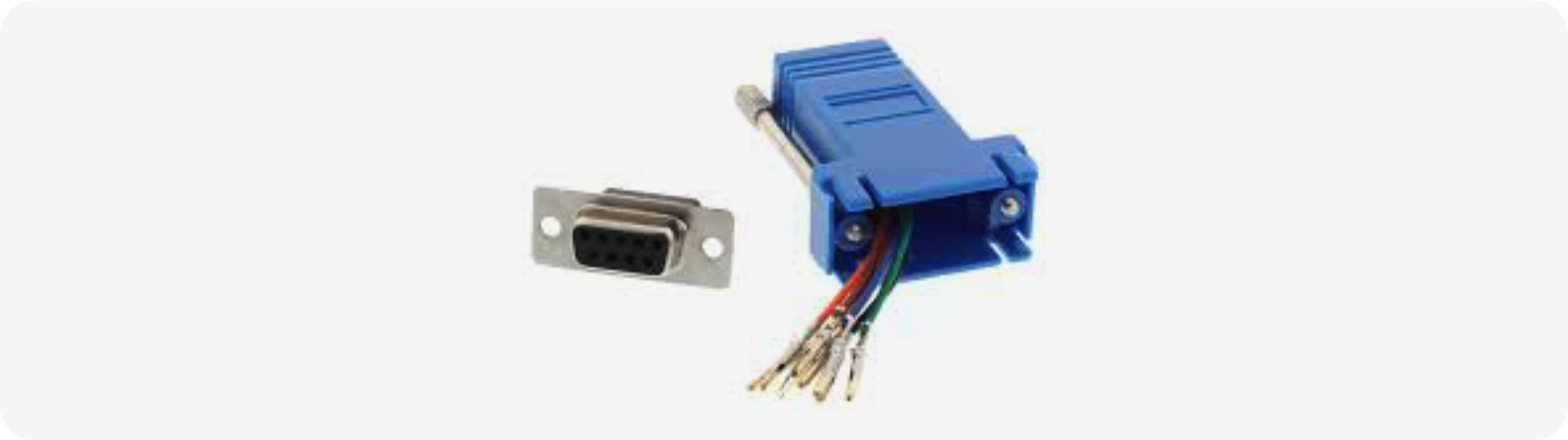RJ45 to DB9 configurable adapter