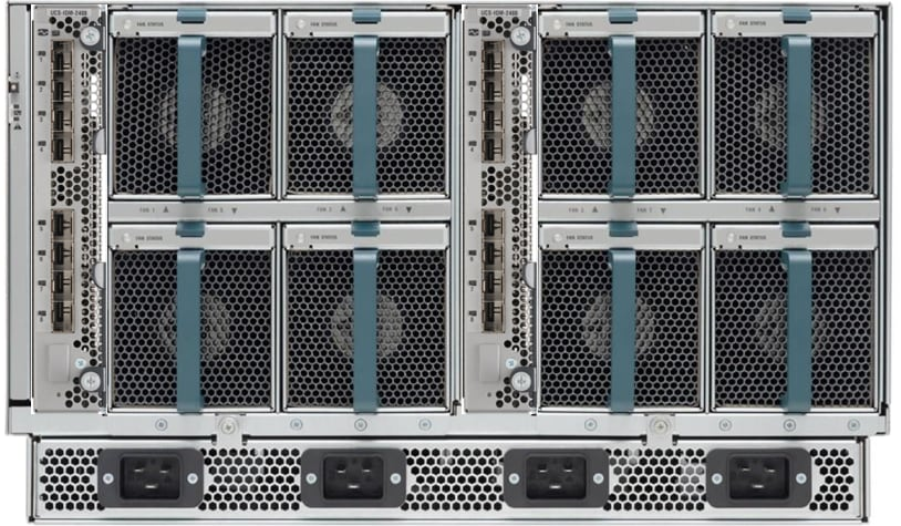 Rear of Cisco UCS 5108 Blade Server Chassis with two Cisco UCS 2408 Fabric Extenders