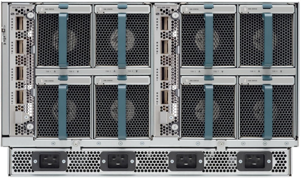 Rear of Cisco UCS 5108 Blade Server Chassis with Two Cisco UCS 2304 Fabric Extenders Inserted