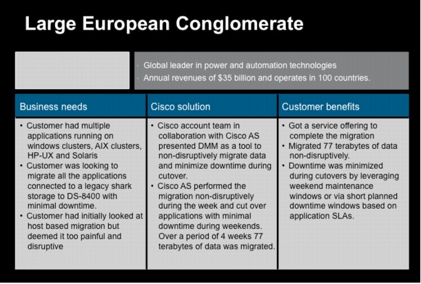 Cisco MDS 9000 Family Data Mobility Manager: Customer Wins