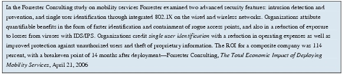 Text Box: In the Forrester Consulting study on mobility services Forrester examined two advanced security features: intrusion detection and prevention, and single user identification through integrated 802.1X on the wired and wireless networks. Organizations attribute quantifiable benefits in the form of faster identification and containment of rogue access points, and also in a reduction of exposure to losses from viruses with IDS/IPS. Organizations credit single user identification with a reduction in operating expenses as well as improved protection against unauthorized users and theft of proprietary information. The ROI for a composite company was 114 percent, with a breakeven point of 14 months after deployment-Forrester Consulting, The Total Economic Impact of Deploying Mobility Services, April 21, 2006