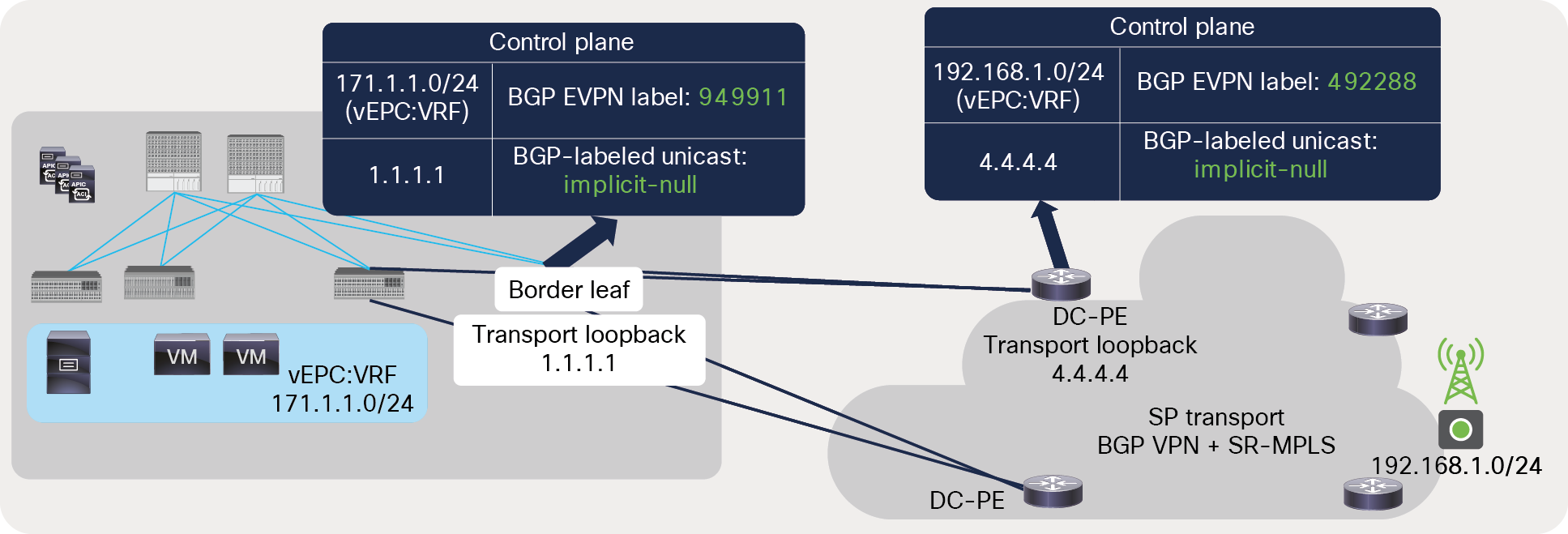 BGP label exchange between directly connected ACI border leaf and DC-PE