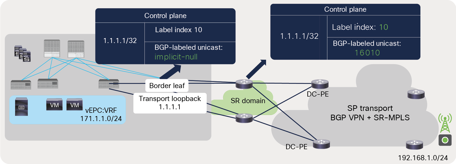 BGP-LU label advertisement from ACI border leaf to DC-PE across an SR-MPLS network