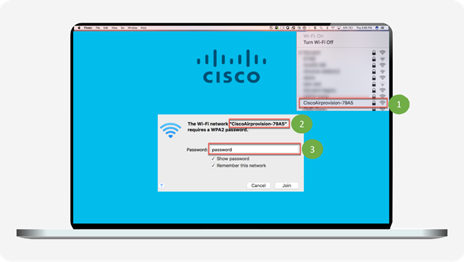 Connect to EWC provisioning SSID