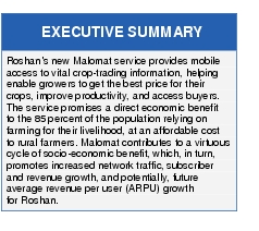 Text Box: EXECUTIVE SUMMARYRoshan's new Malomat service provides mobile access to vital crop-trading information, helping enable growers to get the best price for their crops, improve productivity, and access buyers. The service promises a direct economic benefit to the 85 percent of the population relying on farming for their livelihood, at an affordable cost to rural farmers. Malomat contributes to a virtuous cycle of socio-economic benefit, which, in turn, promotes increased network traffic, subscriber and revenue growth, and potentially, future average revenue per user (ARPU) growth for Roshan.