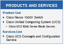 Text Box: PRODUCTS AND SERVICESProduct List●	Cisco Nexus 1000V Switch●	Cisco Unified Computing System (UCS)◦	Cisco UCS B200 Series Blade ServersServices List●	Cisco UCS Concepts and Configuration Service