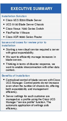 "Text Box: EXECUTIVE SUMMARYInstallation Solution●	Cisco UCS B200 Blade Server●	UCS 5100 Blade Server Chassis●	Cisco Nexus 7000 Series Switch●	FlexPod for VMware●	Cisco ASR 9000 Series RouterIssues and cases for review prior to installation●	Starting a new cloud service required a server with great expandability.●	We want to efficiently manage increases in blade servers.●	Thinking in terms of disaster response, we want to enable interconnection with other data centers.Benefits of Installation●	Centralized control of blade servers with Cisco UCS Manager. Control points do not increase even when the number of chassis do, offering both expandability and management efficiency.●	Server settings for each customer are managed as a profile using the Cisco UCS Manager ""service profile"" function. The automatic application of settings aids efficiency."