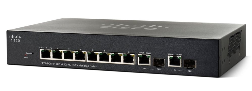 Cisco Sf302 08p 8 Port 10 100 Poe Managed Switch With