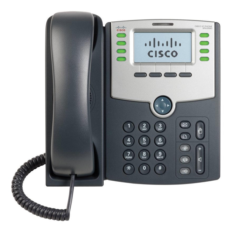 Stand and AC power adapters included. Cisco  SPA508G 8 Line Phone with Display