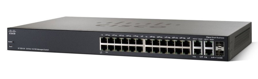 Cisco SF300-24 24-Port 10/100 manejó el conmutador con los links ascendentes Gigabit