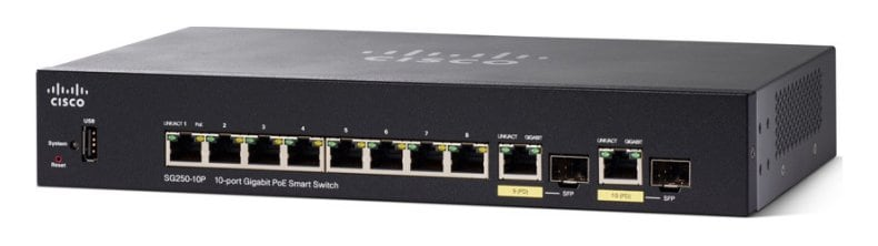 Cisco SG250-10P 10-Port Gigabit PoE Smart Switch