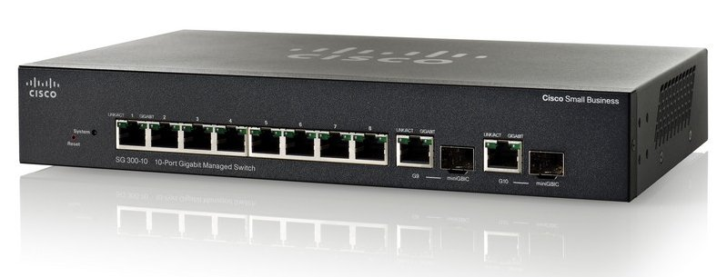 Interruptor controlado gigabit de Cisco SG300-10 10-Port