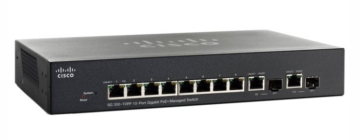 Commutateur géré du gigabit PoE+ de Cisco SG300-10PP 10-port