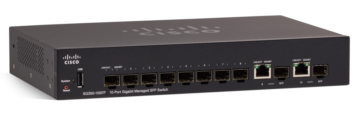 Cisco SG350-10SFP 10-Port Gigabit Managed SFP Switch product image