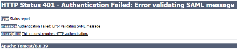 Error 401 authentication failed error validating saml message