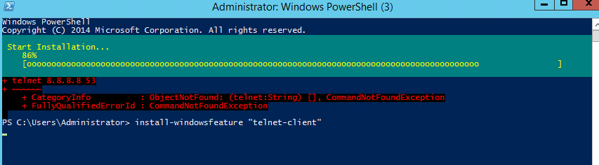 How to install Telnet service on Windows using Windows PowerShell