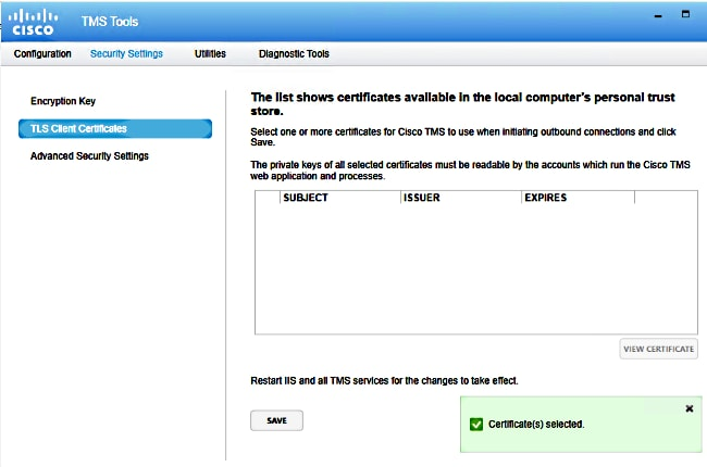TMS Certificates with TMS Tools for TLS Communication Configuration ...