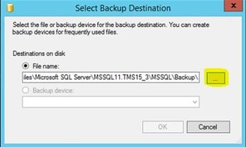Tms sql database migration from one sql server to another sql server click on the add button in order to add a new path for the new back up file ccuart Choice Image