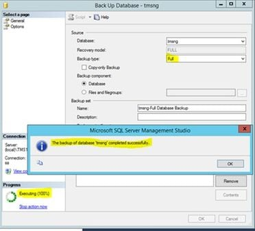 Tms sql database migration from one sql server to another sql server a new message will pop up once the back up is completed successfully ccuart Choice Image