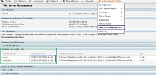 Tms sql database migration from one sql server to another sql server in order to see the new sql server information navigate to the tms web gui administrative tools tms server maintenance and expand the section database ccuart Choice Image