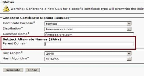 SANs issue with a Third Party Signed Certificate in Finesse - Cisco