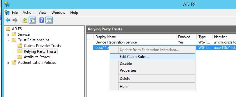 Configure the Identity Provider for Cisco Identity Service to enable