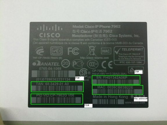 how to get cisco phone serial number