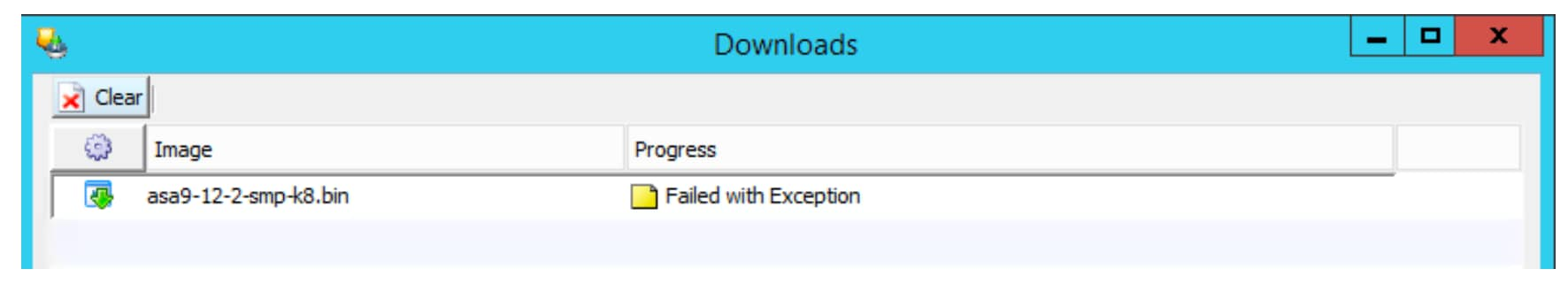 screenshot of failed-with-exception error