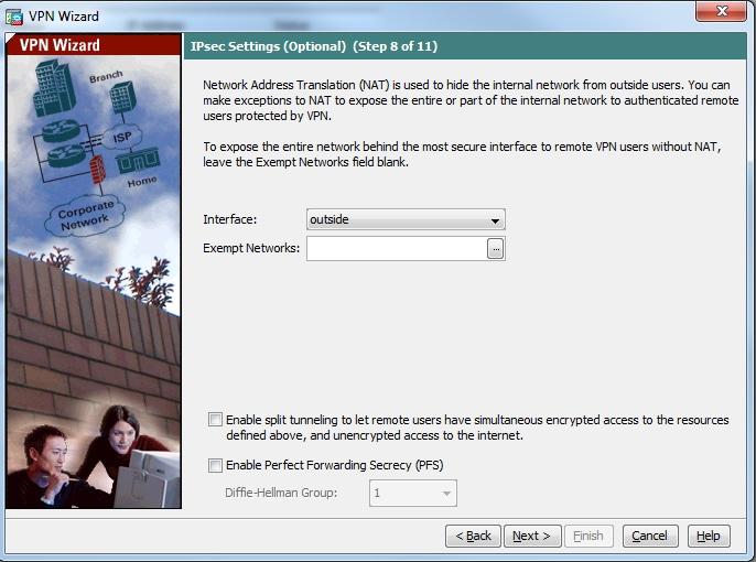 Настройте asa/pix как удаленный vpn-сервер с asdm
