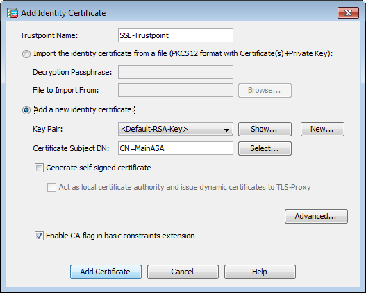 Configure ASA: SSL Digital Certificate Installation and
