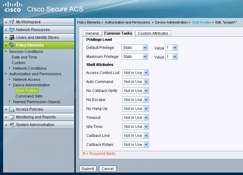 5760 web interface privilege-level based access control