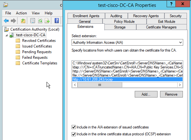 ASA Remote Access VPN with OCSP Verification under Microsoft