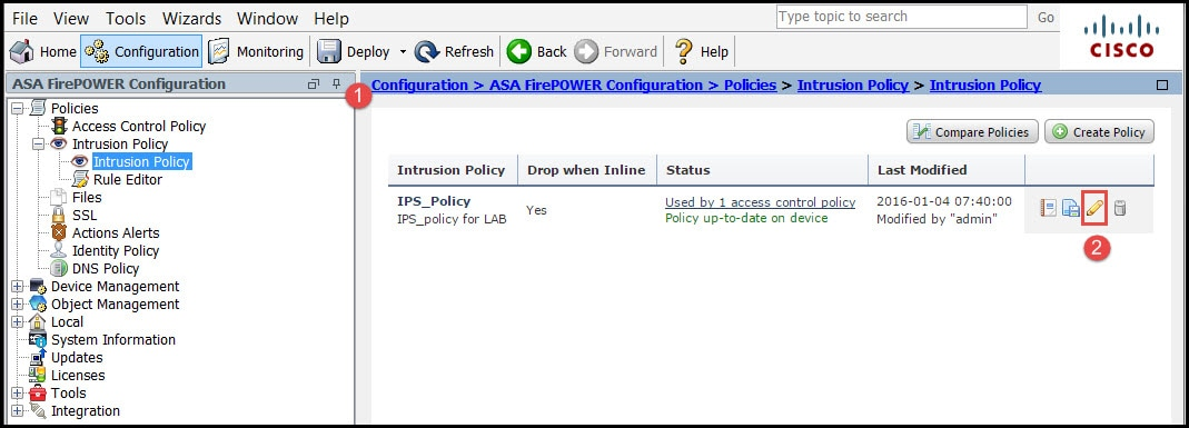 Configure Intrusion Policy and Signature Configuration in