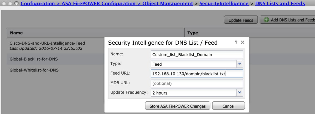 Configure Domain Based Security Intelligence (DNS Policy) in