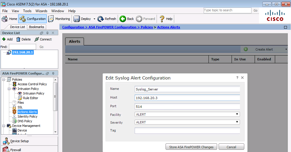 Configure Logging in Firepower Module for System/ Traffic Events