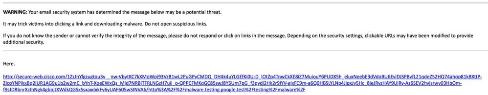 Testing Outbreak Filter URL Rewriting - Cisco