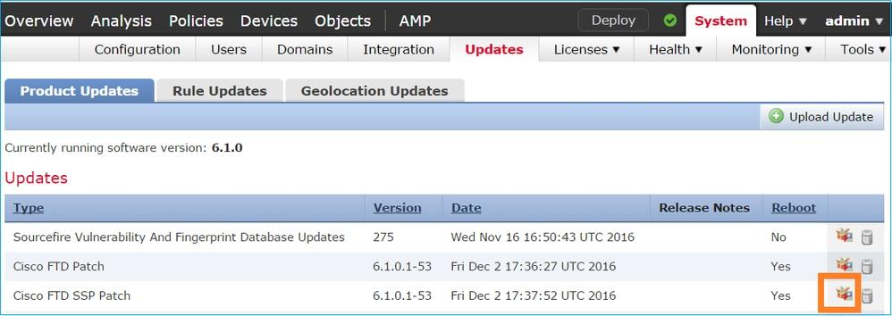 From The FMC System Updates Menu Initiate FTD HA Upgrade Process