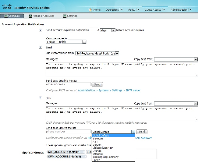 Configure ISE Version 1 4 Email and SMS Notifications - Cisco