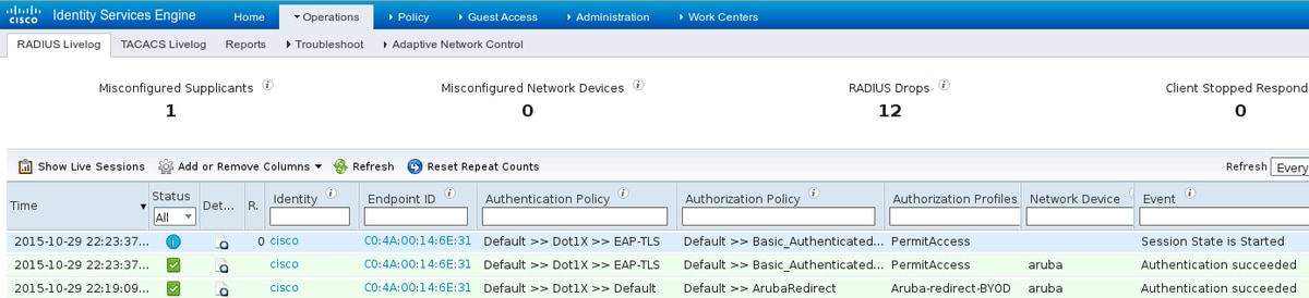 Configure ISE 2 0 3rd Party Integration with Aruba Wireless - Cisco