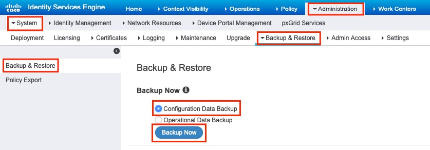 How to Export Configuration and Operation Data Backup from ISE - Cisco